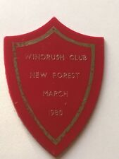 caravan plastic plaque - the windrush club . new forest march 1980