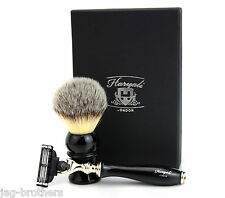 Mens Shaving Brush & Shaving Razor (Synthetic Badger Look Hair Brush Gift set