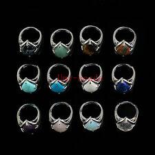 Charm Silver Plated Amethyst Quartz Lapis Lazuli Teardrop Adjustable Finger Ring