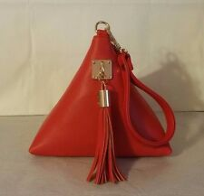 Stylish Triangle Tassel Clutch Wristlet Purse Bright Red NIP