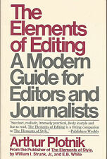 Elements of Editing by Plotnik (1984, Paperback Book)Very Good condition