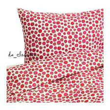 IKEA SOMMAR 2015 Twin Duvet Quilt Cover set 100% Cotton Raspberries Pink NEW