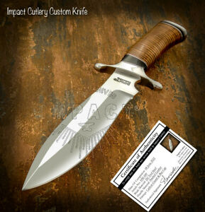 IMPACT CUTLERY RARE CUSTOM D2 COMBAT HUNTING BOWIE KNIFE STACKED LEATHER HANDLE