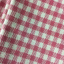 "Fabric Pink White Check Plaid 57"" Wide x 136"" 3.7 Yards Cotton Upholstery"