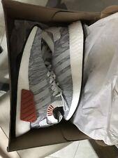 Adidas Mens ORIGINALS NMD_R2 PRIMEKNIT PK NEW AUTHENTIC Grey White Orange BY9410