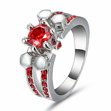 Ruby Engagement Ring Red Garnet 10KT White Gold Filled Women's Jewelry Size 8