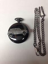 Saab 96 V4 ref220 emblem polished black case mens pocket watch