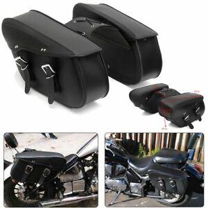 Universal PU Leather Motorcycle Saddle Tool Bag Cross Rider Panniers Luggage AU