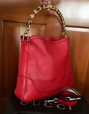 Gucci Large Red Leather Diana Handbag Bamboo 2 Way Pebbled Hobo Shoulder Tote