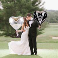 2PCS Heart Foil Balloons Marriage Groom Bride Tuxedo Dress Wedding Party Decor