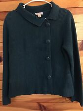 *CHRISTOPHER & BANKS* Women's Turquoise Sweater Buttons Down Front Side Size L