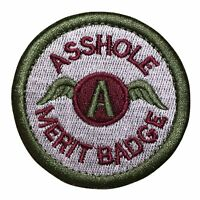 A**hole Merit Badge Police Military Tactical Morale Hook & Loop Patch Multicolor