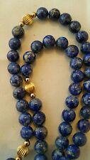 "Vintage LAPIS LAZULI Necklace Round Bead 21"" Length 8mm Beads"