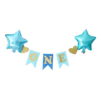 Blue Baby Boy Girls High Chair Banner Baby First One 1st Birthday Party Decor UK