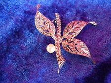 hermosa, antiguo broche__Plata 925___con piedras brillantes y perla____