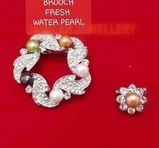 NEW! Brooch Swarovski Crystal Freshwater Pearl Women Pin White Gold Plating