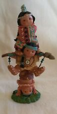 """1995 Enesco Friends of the Feather """"Brave Support� Figurine 3 Child Pole Tower"""