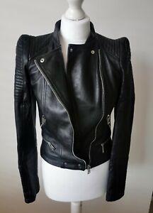 Zara 100% Genuine Leather Black Biker Jacket Size S Small 8 10