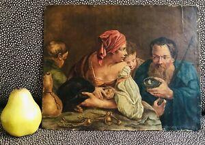 19th Century Antique Flemish Dutch Portrait Painting Family Children Onion Leeks