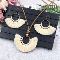 Women Bohemian Long Tassel Earrings Necklace Fringe Jewelry Sweater Accessories