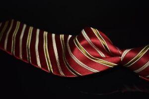 Ermenegildo Zegna Woven Satin Cherry Red Khaki Alternating Stripe Silk Tie Italy