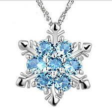 Women Silver Frozen Snowflake Necklace Rhinestone Crystal Pendant Chain Jewelry