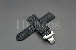 24MM Canvas Nylon Black Watch Band Strap Deployment Buckle Fits Panerai Luminor