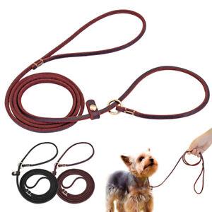 4/5ft Soft Leather Small Dog Leash Slip Lead Adjustable Training Choke Collar