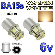 2 x 6v ba15s Bianco Caldo 8 SMD 5050 Led Lato Interno Lampadine GLB 205 6 Volt
