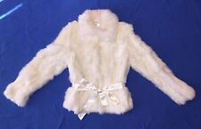 VINTAGE NINE WEST GENUINE REAL WHITE CREAM RABBIT FUR COAT JACKET SMALL