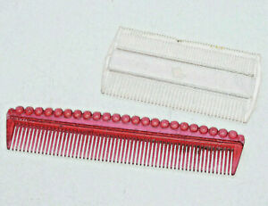 Vintage Celluloid plastic Hair Comb Lot pocket size Red Pink