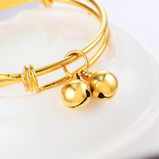 Kids child baby Bell bracelet toddler jewelry 9k Gold Plated bangle Adjustable
