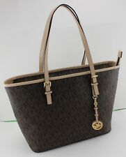 NEW AUTHENTIC MICHAEL KORS BROWN JET SET TRAVEL TZ TOTE SIGNATURE HANDBAG WOMENS