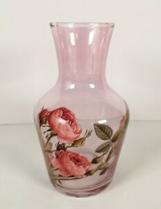 "Italian Hand painted Pink Roses Pink Glass Vase 6.5"" high"