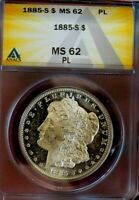 MORGAN SILVER DOLLAR 1885 S ANACS MS 62 PL RARE GLASSY OBV CAMEO LOOKS DMPL