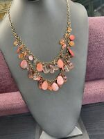 """Vintage Pink Mother Of Pearl Coin Necklace Ab Facets Accents  Beaded 22"""""""