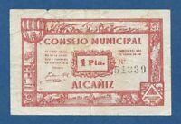 CONSEJO MUNICIPAL DE ALCAÑIZ  -- 1 PESETA ( 1937 ) -- MBC- -- 2ª EMISION .