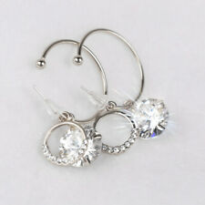 925 Sterling Silver Hoop Drop Earrings With Cubic Zirconia Valentines Gift UK
