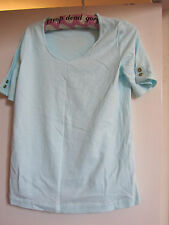Aqua Blue M&S T-Shirt Style Scoop Neck Cotton Top in Size 12 - NWOT