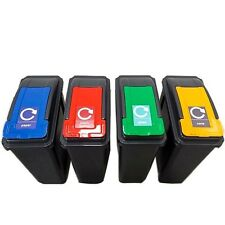 Set of 4 Slim Plastic Recycling Bins With Sticker Sheet - HOME - OFFICE - SCHOOL