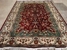 Exclusive Love Red Floral Area Rug Hand Knotted Wool Silk Carpet (6 x 4)'