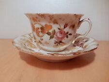 Tasse sous tasse porcelaine Paris XIX 19 siecle décor fleur rose dorure