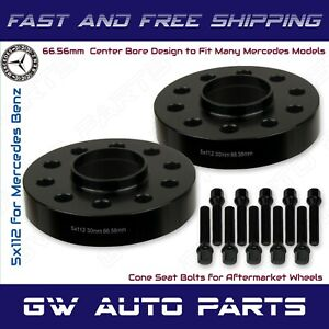 (2) 30mm Mercedes Benz 5x112 REAR Hub Centric Wheel Spacers W/Cone lug Bolts Kit