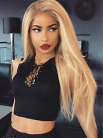 Synthetic Lace Front Wig Brown Root Blonde Peluca Long Straight Ombre Wigs Hot