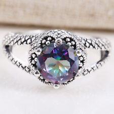 1.2 CT Fashion Women 925 Silver Rainbow Topaz Ring Wedding Jewelry Size 7-9