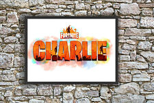 Personalised Fortnite Name Bedroom Wall Print Artwork canvas/paper print -A4/A3