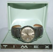 Vtg 60s TIMEX WATCH self winding & Light Blue Silver Plastic Wrist Watch BOX