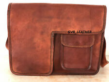 Raw Leather Leather Genuine Messenger Shoulder Laptop  Crossbody Briefcase Bag