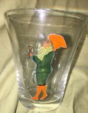 SET OF 5 Gnome Tomte Glass Cups Glasses God Jul Christmas Scandinavian VINTAGE
