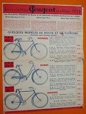 PUBLICITE CATALOGUE BICYCLETTES PEUGEOT 1933 VELO CYCLISME PST PL PHL COURSE